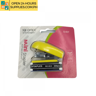 A photo of SQI Office Mini Stapler With Staple - Yellow