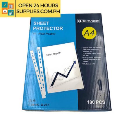 Bindermax (Sheet protector) 11 hole pocket A Ideal For:  Pricelist, reports, catalogues, brochure, resumes, etc.  Guaranteed clarity does not age. Multi punched reinforced binding edge for all ring binder. Photocopy safe.