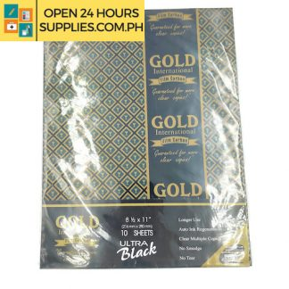 Gold International ( Film carbon) Guaranteed for more clear copies 8 1/2 x 11 216mm x280mm Color: Blue 10 Sheets Longer use Auto link regeneration Clear multiple copies No smudge No tear
