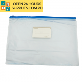 A photo plastic envelope with zipper blue