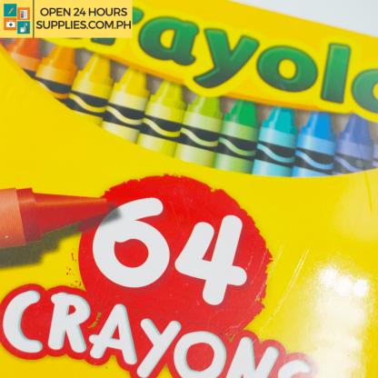 A close up photo of Crayola 64 Non-Toxic Crayons
